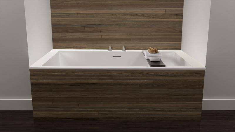Another sunken bathtub design from the Cube Collection, featuring an ultra-comfortable backrest on either end of the tub. The tub is more compact than other models, featuring enough space for a single bather to submerge completely. The BC09 tub includes a wenge-colored bathtub caddy as well.