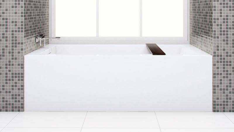 This unique replacement model from the Cube collection is available with a right or left drain, with 10 possible configurations for installation. A wenge colored bathtub caddy is included with the BC12 bathtub.