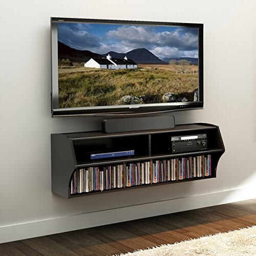What we love most about this entertainment center is its efficient, space saving design. The clean lines and minimalist approach to style means that it'll fit perfectly in almost any man cave, leaving more open floor and wall space around it than you'd think possible.