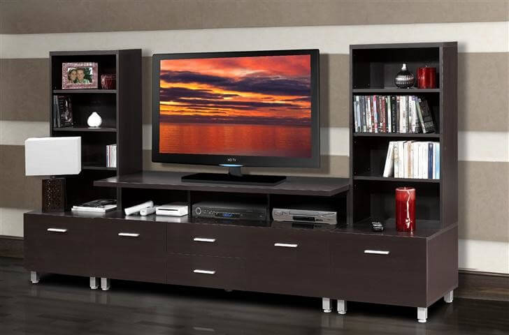 Sleek Modern Style Is Taken To The Next Level With This Rich Dark Chocolate  Wood Entertainment