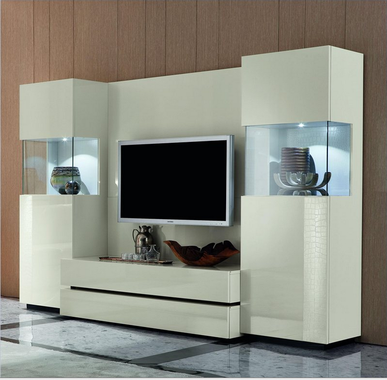 This Unit Is Positively Breathtaking In Its Sleek White Construction And  Pair Of Glistening Glass Display