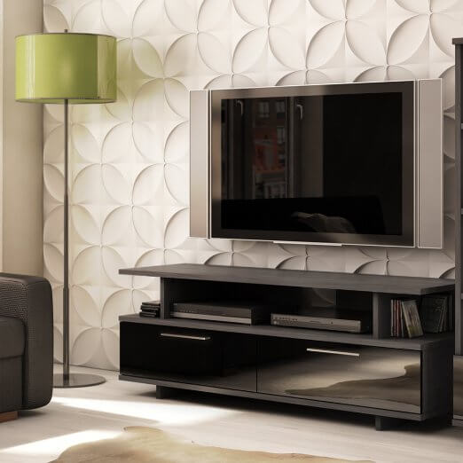 This grey oak unit is one of the most simply elegant pieces we've seen. The small footprint allows it to stand in virtually any sized man cave, while the sleek smoked glass doors obscure a wealth of storage space. With a wall mounted television, you can even use the top shelf for display purposes, mounting art pieces or speakers over the broad row of open shelving.