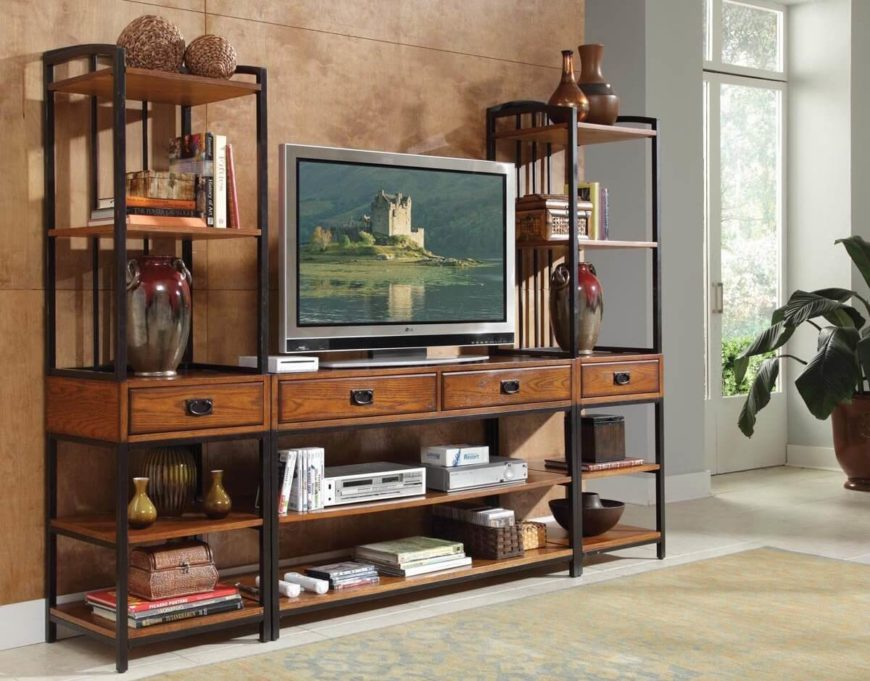 The best man cave entertainment centers from around the for Mission style entertainment center plans