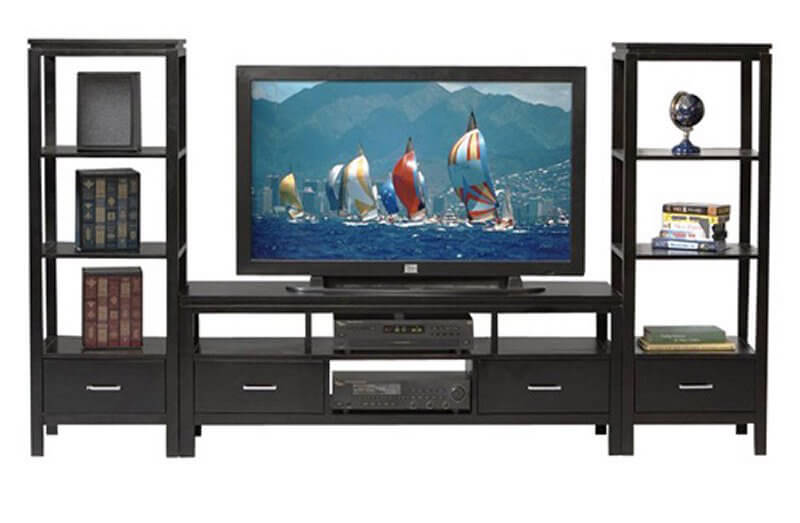 Here's a thoroughly modern entertainment center in a familiar shape, with a low slung TV stand nestled between a pair of open frame towers. Storage and display duties are shared across all three components, with a special emphasis placed on the uniquely airy shelving flanking the TV itself. This one is perfect if you've got nicknacks or memorabilia to display.
