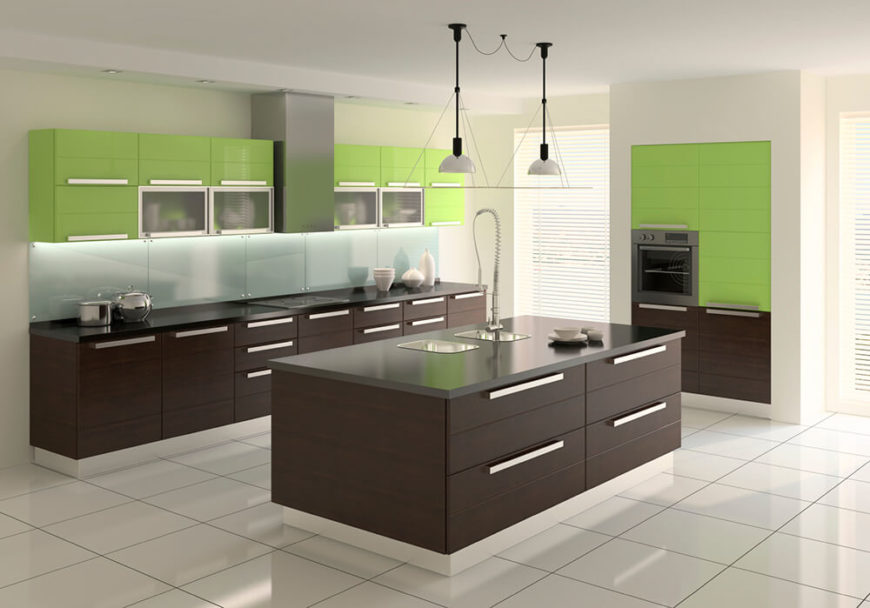 A 3-D rendering of a modern kitchen featuring dark lower cabinets and an island matched with lime green minimalist upper cabinets. This kitchen features a unique sink design with two single basin sinks and a faucet in the center.