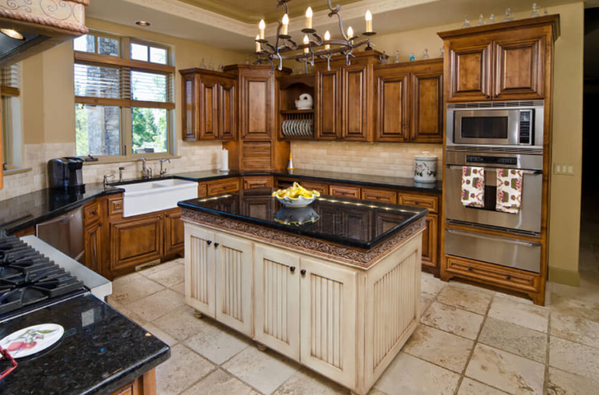 kitchen design traditional. hereu0027s a cozy rusticstyled kitchen centering on light distressed wood island design traditional s
