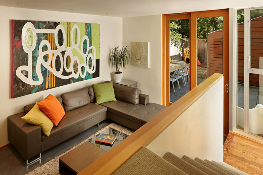 Living room with view of courtyard.
