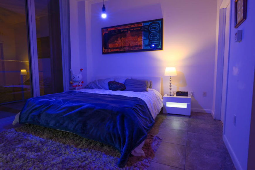 After climbing into bed, you shouldn't have to pull yourself out again. Especially just to control the lights. As shown here, you can set a relaxing atmosphere, while still keeping a good reading light that will not strain your eyes.