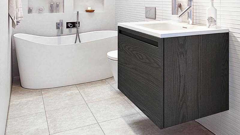 As the smallest vanity available through W2 By WETSTYLE other than through custom order, the 24 inch vanity is constructed from hardwood oak with a plank effect, and available in a mocha or charcoal finish. As an Element vanity, it comes with the option of an inner pull-out drawer.