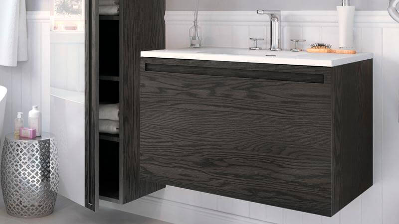 The 30 inch vanity is different only in size, with European hardware by Blum, an interior drawer box with the option of an inner pull-out drawer. The design of the Element vanities is sleek and minimalist, with a dark finish that leans towards the contemporary.