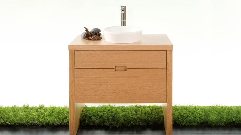 This simple 24 inch light wood vanity is hand made, book matched, and finished with the highest grade of moisture resistant finish to withstand moisture in the bathroom.