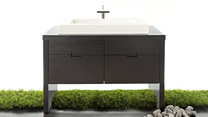 Each of the handmade vanities from the F collection are constructed from natural hardwoods, and these small variations in natural wood grain make each piece utterly unique.