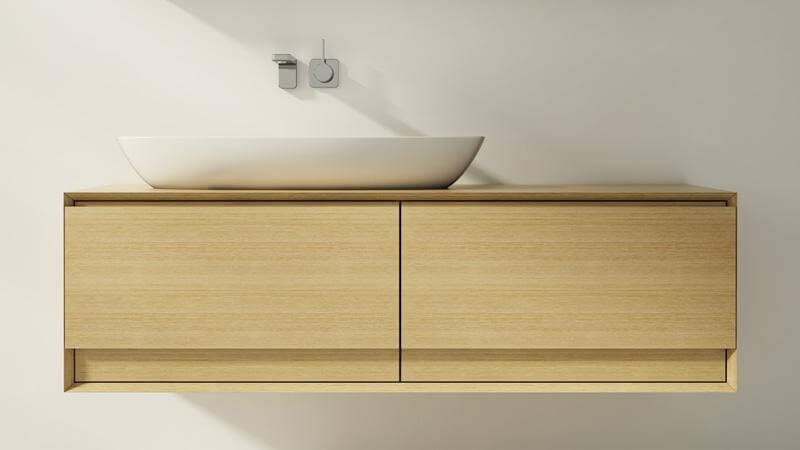 The M Collection vanities are all constructed rom renewable hardwoods with premium touches like beveled edges, concealed European hinges, and slow-closing dovetailed drawers.