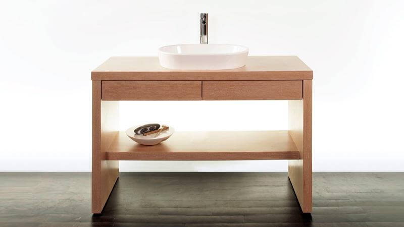 The Z120 Vanity is available only with vessel sinks, and is less sleek than the Z118, as it includes two pull out drawers beneath the wooden top of the console.