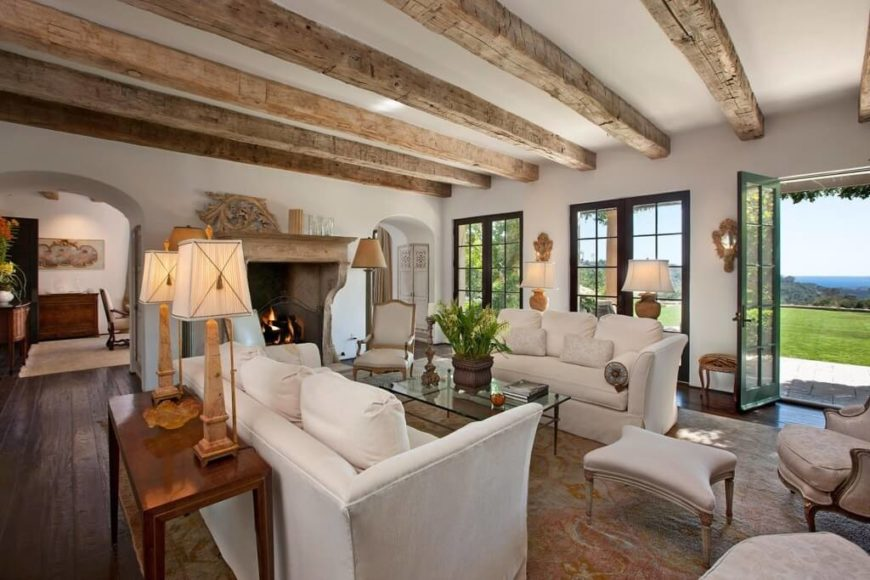 In An Immense Living Room Mixing Rustic And Contemporary Styles, We See  Natural Wood Ceiling
