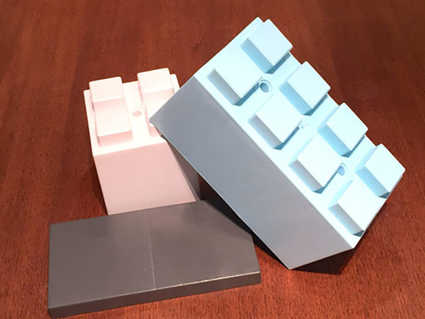 Here's a look at some of the different block pieces, including the smooth topped caps that allow for many of the possible furniture combinations.