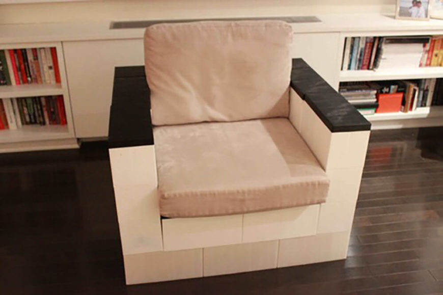 This is one of our favorite creations, a full size club chair for the family room. Using just the blocks and a pair of seat cushions results in a fully functional and comfortable chair.