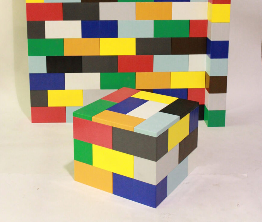 Here's a look at a mixed color set of the blocks, showing off the diverse colors you can work with. With cap pieces to create a smooth surface, they can be crafted into a large variety of furniture objects.