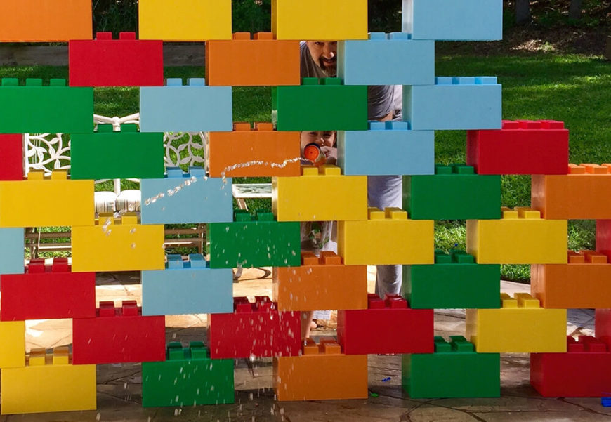 The blocks can be easily used outdoors, being weather resistant. These have been crafted into a porous play wall for kids.