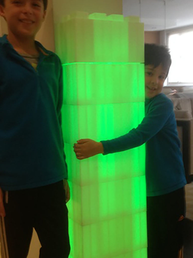 With a little ingenuity, you can make the blocks do almost anything. Here we see how a bit of internal lighting has created a glowing tower that kids adore.