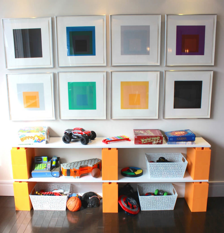 Even in an elegantly styled house, the kids' rooms can use a burst of color and fun. EverBlocks make for a perfect storage shelf frame, coming in all sorts of bold colors.