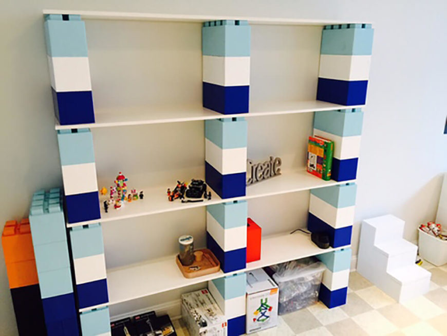 Here's another storage shelf for kids. As you can see to the left, extra bricks can be purchased for future use, ready to be attached when more shelving is needed.