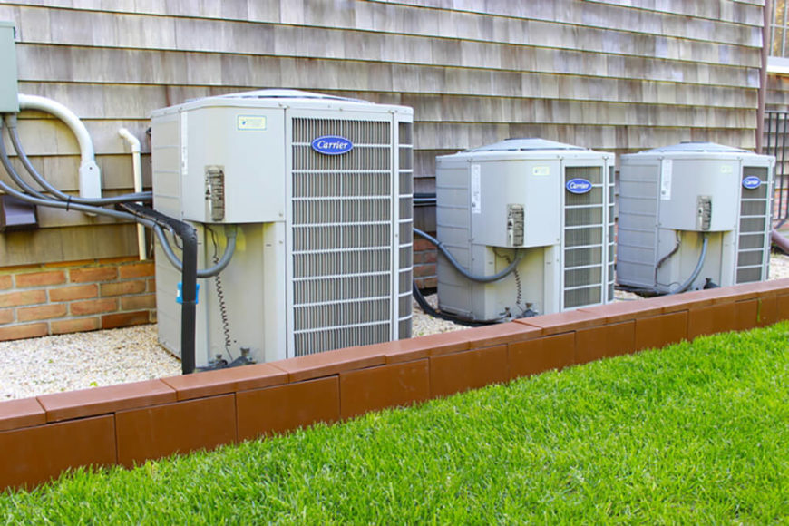 Here's another fantastic outdoor use for the blocks: framing your air conditioning equipment. People love to conceal or disguise these units, and a small brick wall is one great way to do so.