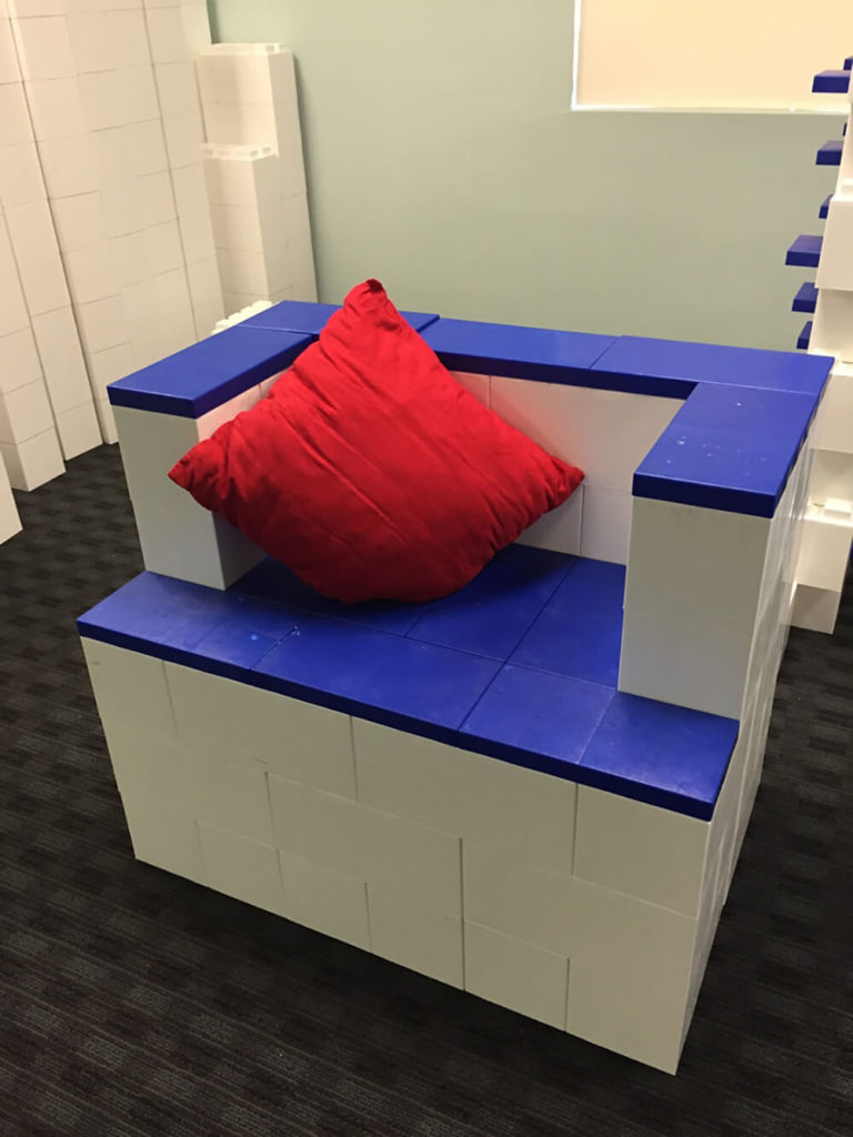 Here's a large bench seat, or possibly a throne. Kids will go absolutely wild with their imaginations when they've been unleashed with a set of EverBlocks.