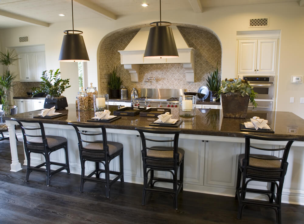 Kitchen island with beautiful bar stools