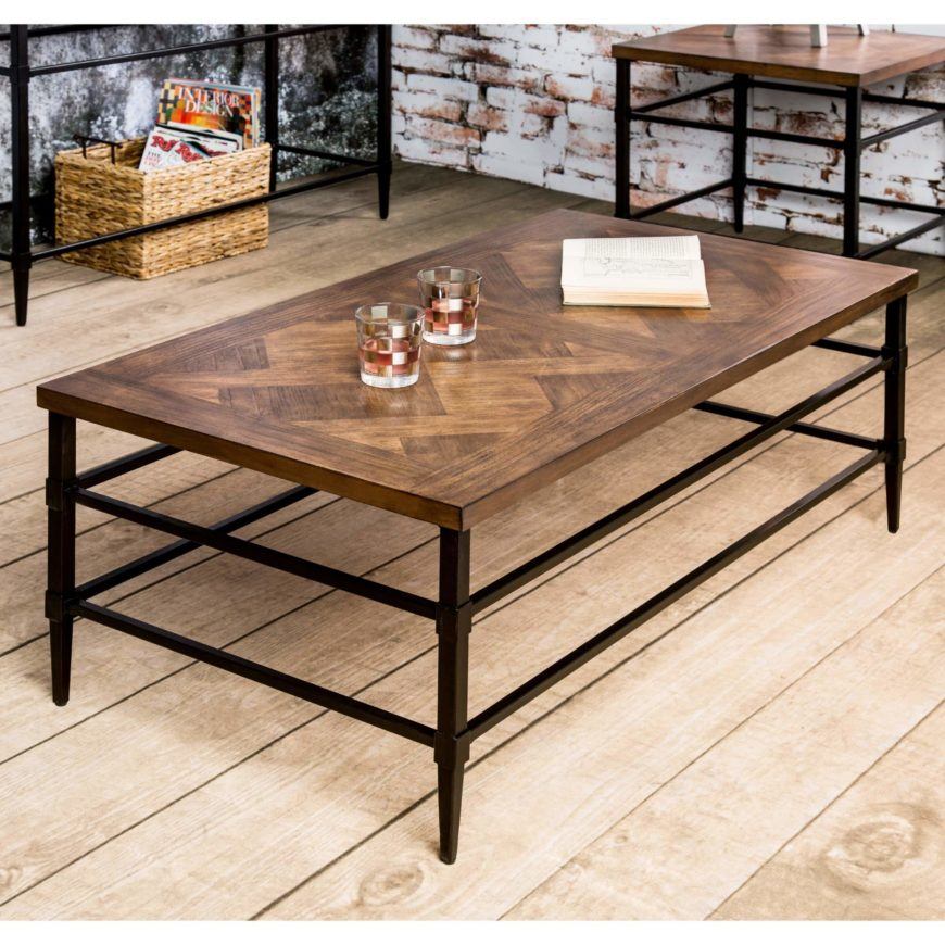 This coffee table reins in the more extravagant end of industrial design for a more sleek look, with a wrought iron frame and light natural hardwood top that pair together in unassuming harmony. The soft patterns on the tabletop make for a subtle contrast, helping this table fit in anywhere.