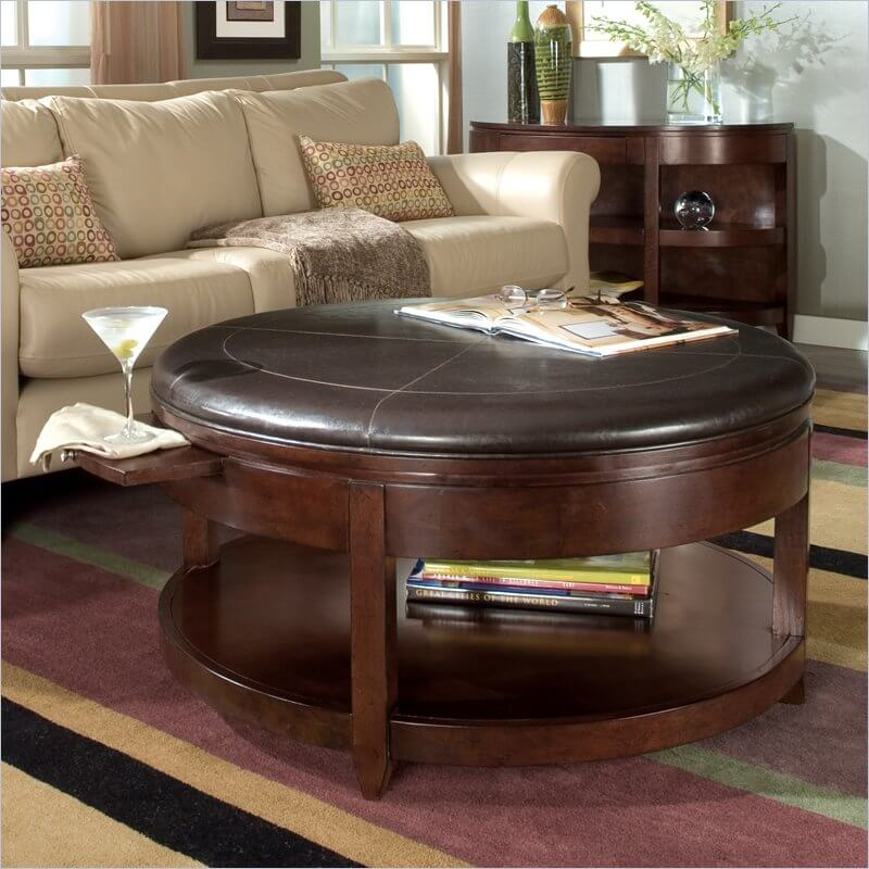Our First Ottoman Hybrid Is A Large Circular Model With A Sleek Leather  Top. The