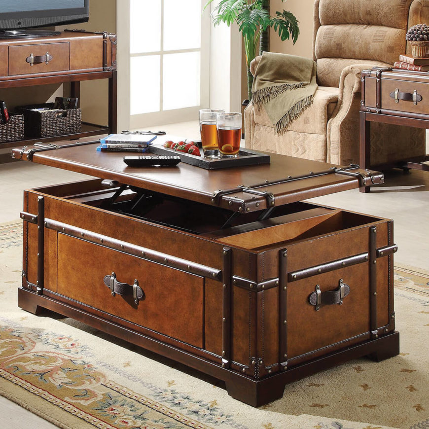 Here's a very idiosyncratic design, a storage coffee table built to resemble an old fashioned steamer trunk. The classic looks belie a very modern creation with both a lift top surface and abundant built-in storage.