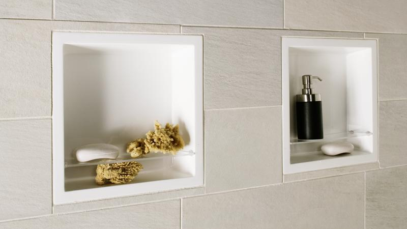 When creating your new tile shower, don't forget the built-in shampoo and soap holders! Opting for these built-in receptacles means you'll never have to scramble for a spot to set your soap or shampoo. Each receptacle measures 14 x 14 inches and includes a single plexiglass shelf. Made of WETMAR BiO™, the shampoo holder is the perfect complement to any shower receptor from WETSTYLE.