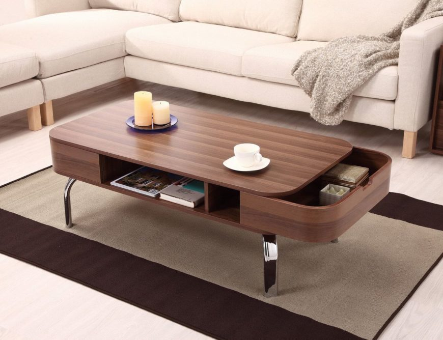 The Sensuous Curved Lines On The Sleek Wood Body Of This Coffee Table Help  Disguise The