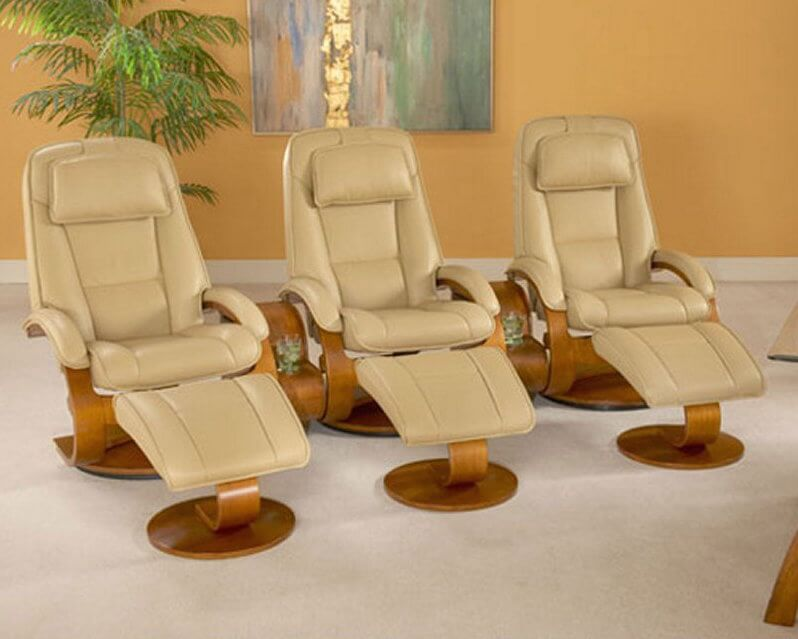 This set of three modern styled chairs and accompanying ottomans exemplifies the appeal of seating designed & Top 21 Types of Home Theater Recliners and Chairs islam-shia.org