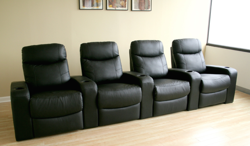 The great thing about a set like this is that with one purchase, your home theater seating needs are filled. A family of four can enjoy al the sights and sounds together, with broad armrests, cup holders, and deep reclining action.