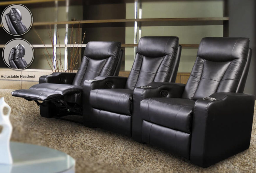 The reclining action on this trio of gorgeous black leather theater seats really sets them apart, with an adjustable headrest to help get the perfect movie viewing angle. Metal cupholders are sunk into the generously sized armrests.