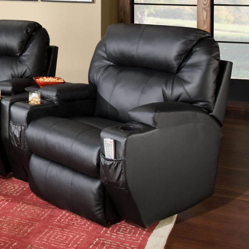 This broad ultra-thick cushioned black leather chair is the perfect movie time companion & Top 21 Types of Home Theater Recliners and Chairs islam-shia.org