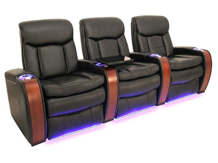 Looking at the photo, you're probably noticing that this unit is a standout piece even in the world of home theater seating. LED lights run beneath the chairs and within the cupholders to aid in visibility when watching movies in the dark, while sleek wood panels add a fresh layer of elegance.