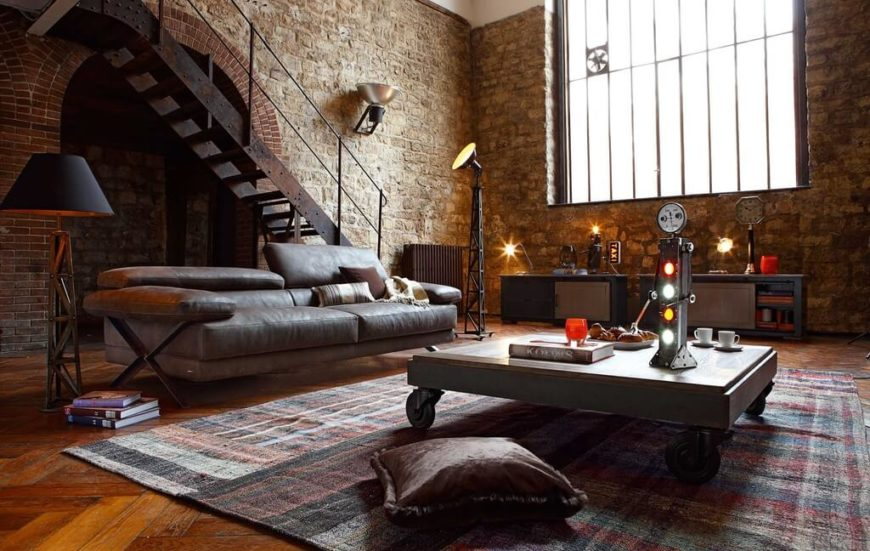 Ever thought about setting up shop in the style of Dr. Frankenstein's laboratory? Brick walls formed in the style of an European archway, along with the weathered-edge wall bricks, help create a creepy and cool motif.