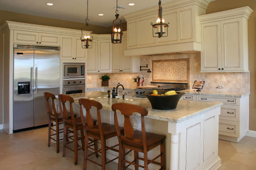 We Love The Large, Stately Island In This Kitchen, Topped With Light  Granite And