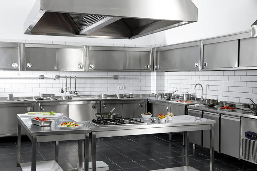 Stainless Steel Utterly Defines This Large, Industrial Styled Kitchen. With  Rows Of Steel Cabinetry
