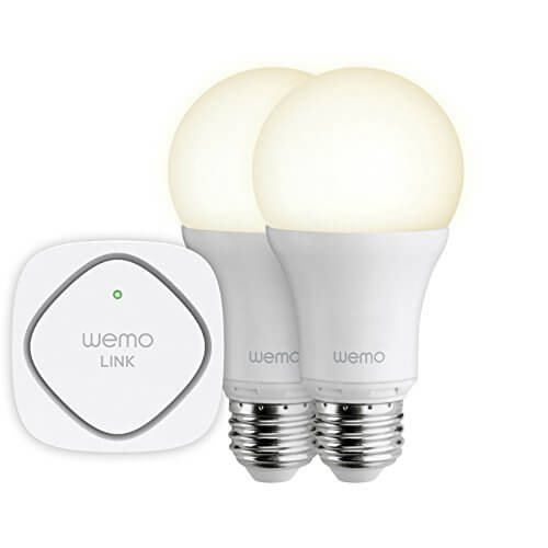 The WeMo system is a modular set of lightning that can be combined and built up with additional bulbs. The starter set includes two WeMo Smart Light Bulbs and one WeMo Link that's placed centrally in the home. This allows you to connect up to 50 smart bulbs and control them individually or as a monolithic group.