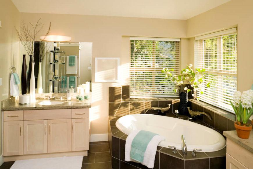 Bathroom with Corner Bathtub with Windows on 2 Sides