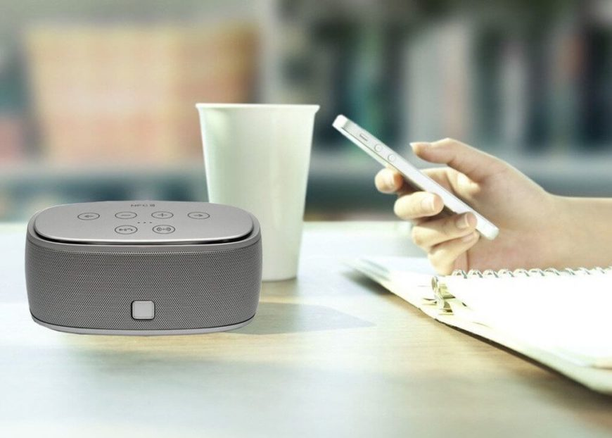 This smart speaker connects with other Bluetooth devices, from computers to smart phones, for hands free music and voice functionality courtesy of top quality stereo speakers. NFC functionality allows for direct, wireless connection up to 10 meters with any compatible devices.