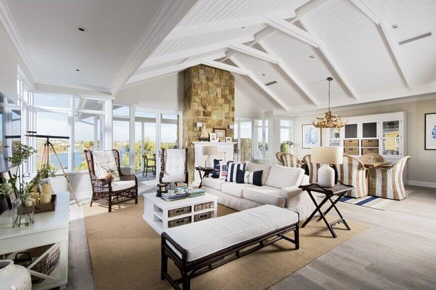 This living room has a high ceiling, which is painted completely white. This color scheme helps to accent the stone chimney above the fireplace. Plenty of different patterns and textures are featured in this space. There are windows rounding the entire wall and corner of the home, providing a view.