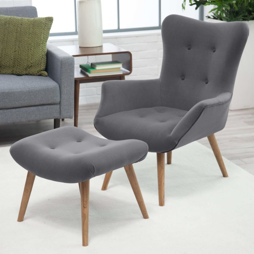 Sleek And Simple In Design, This Chair And Ottoman Set Employs A Timeless  Design That