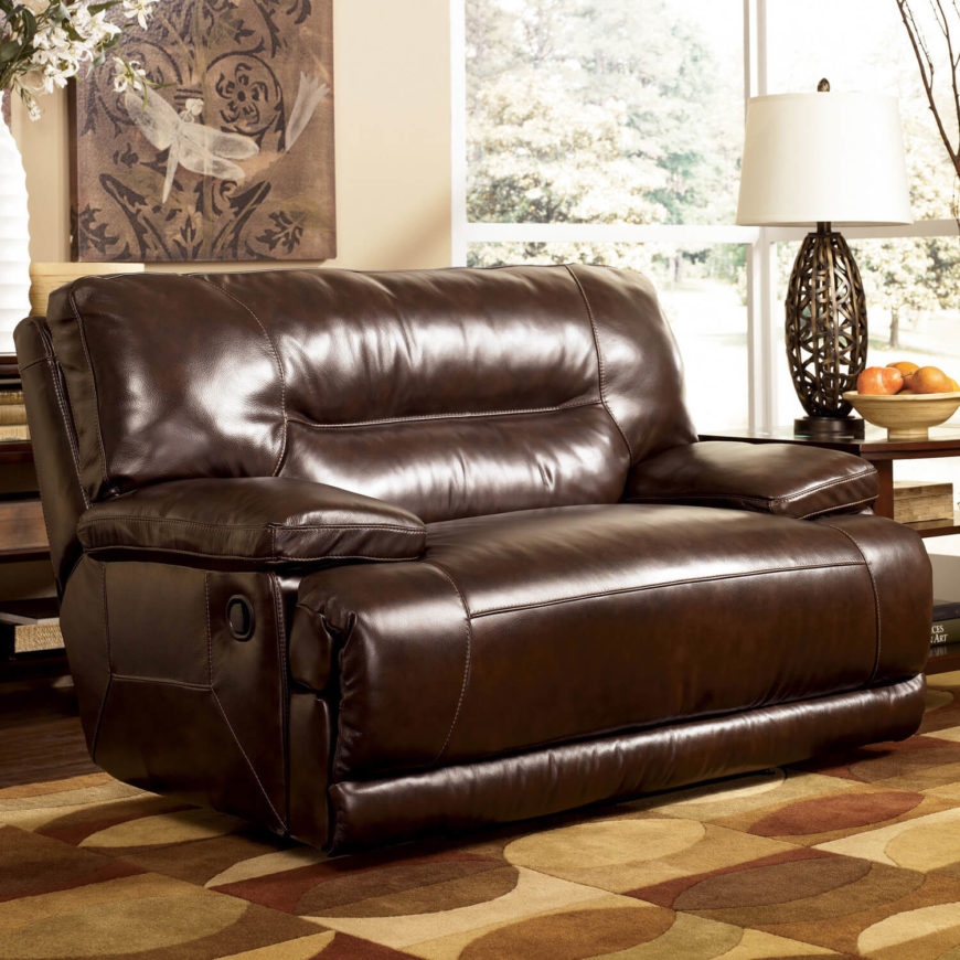 A Massive, Wide Style Faux Leather Recliner, This Chair And A Half  Practically