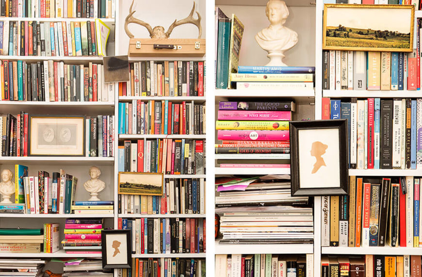 Here's a close look at the bookshelves, with their modular heights and varying configurations designed to hold books and artwork in a variety of ways. They completely dominate the room and stand as the defining element of the home.