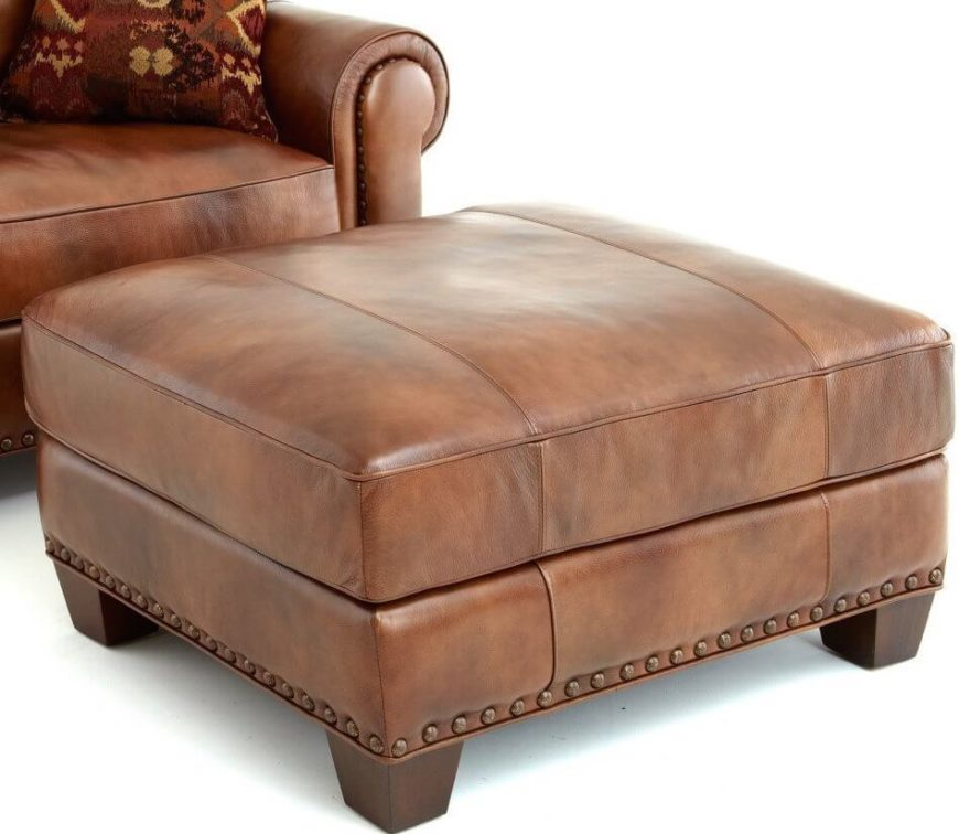 A more rustic piece in a smooth, caramel leather and a stylish nail head trim around the bottom. The sturdy hardwood frame and accent legs will hold up well under constant use, and the 2.0 high density foam will ensure that it stays comfortable and in shape.